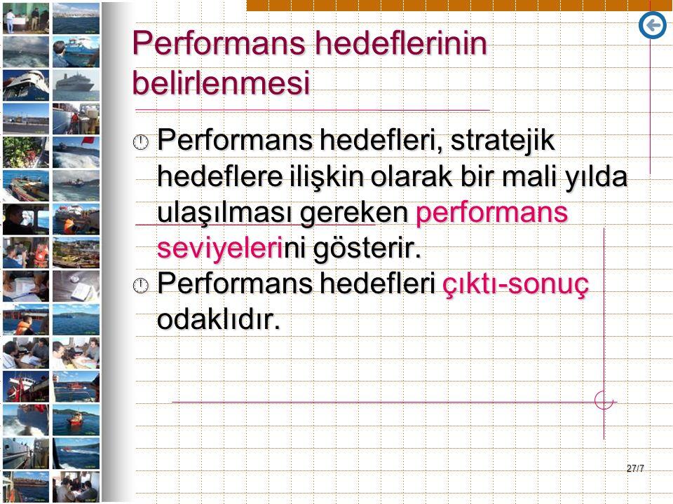 27/7 Performans hedeflerinin belirlenmesi Performans hedefleri, stratejik hedeflere ilişkin olarak bir mali yılda ulaşılması gereken performans sevi