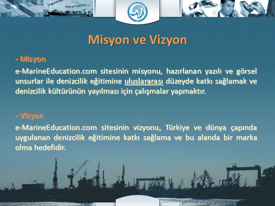 Misyon ve Vizyon - Misyon e-MarineEducation.com sitesinin misyonu, hazırlanan yazılı ve görsel unsurlar ile denizcilik eğitimine uluslararası düzeyde