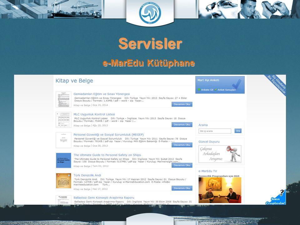 Servisler e-MarEdu Kütüphane