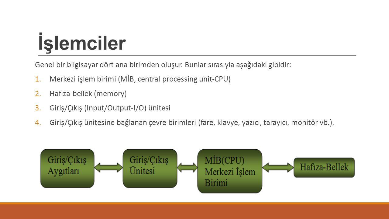 İşlemciler Genel bir bilgisayar dört ana birimden oluşur. Bunlar sırasıyla aşağıdaki gibidir: 1.Merkezi işlem birimi (MİB, central processing unit-CPU