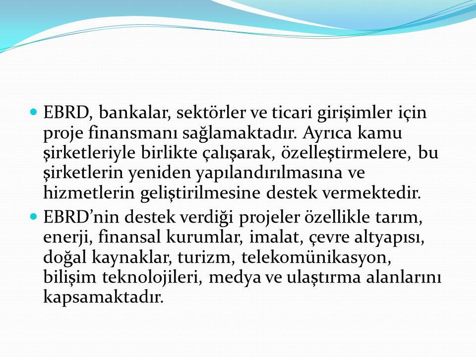 Üyeler(63 ülke) EBRD dört resmi dili, Rusça, Almanca,İngilizce ve Fransızca Merkezi Londra İngiltere ABD,Bulgaristan,İngiltere,Kazakistan, Meksika Slovakya,Almanya,Çek Cumhuriyeti İrlanda,Kıbrıs,Mısır,Slovenya,Arnavutluk Danimarka,İspanya,Kırgızistan,Moğolistan Tacikistan,Avrupa Birliği,Ermenistan, İsrail,Kore Moldova,Türkiye,Avrupa Yatırım Bankası