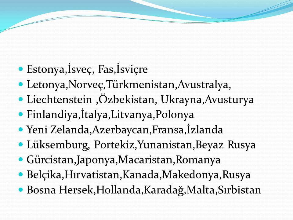 Estonya,İsveç, Fas,İsviçre Letonya,Norveç,Türkmenistan,Avustralya, Liechtenstein,Özbekistan, Ukrayna,Avusturya Finlandiya,İtalya,Litvanya,Polonya Yeni