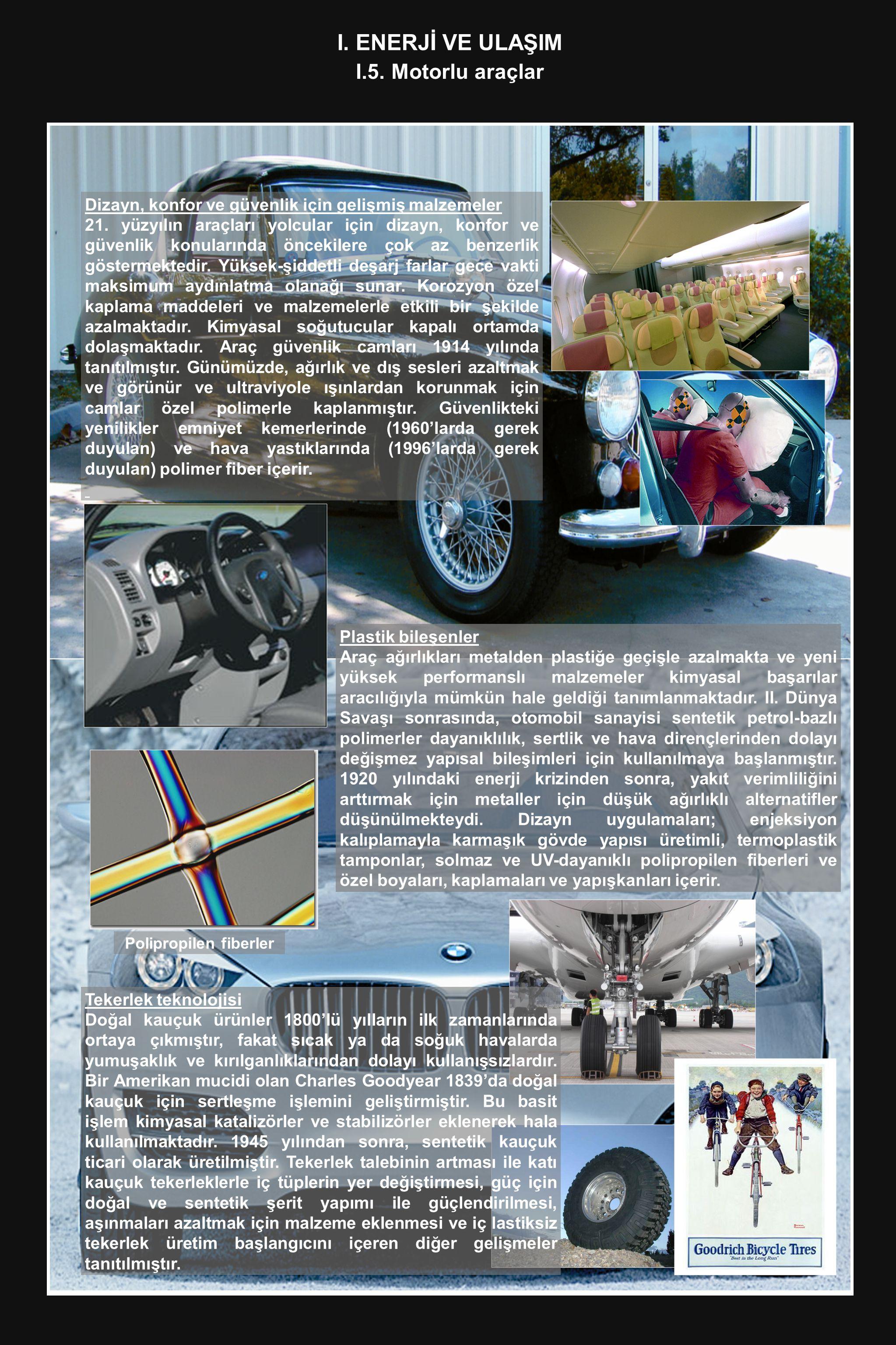 I. ENERJ İ VE ULAŞIM I.5. Motorlu araçlar Dizayn, konfor ve güvenlik için gelişmiş malzemeler 21. yüzyılın araçları yolcular için dizayn, konfor ve gü