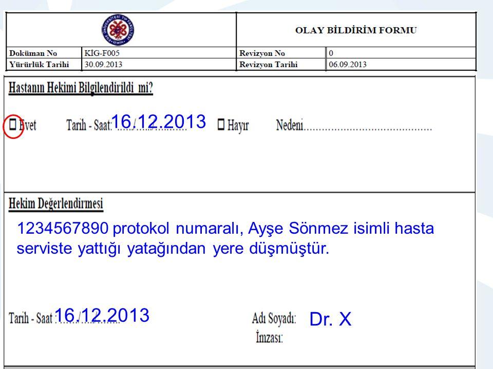 QDMS NO: KİG-I003 OLAY BİLDİRİM İ ANALİZİ VE İŞLEYİŞİ HEMŞİRELİK HİZMETLERİ YÖNETİMİ 16.12.2013 1234567890 protokol numaralı, Ayşe Sönmez isimli hasta