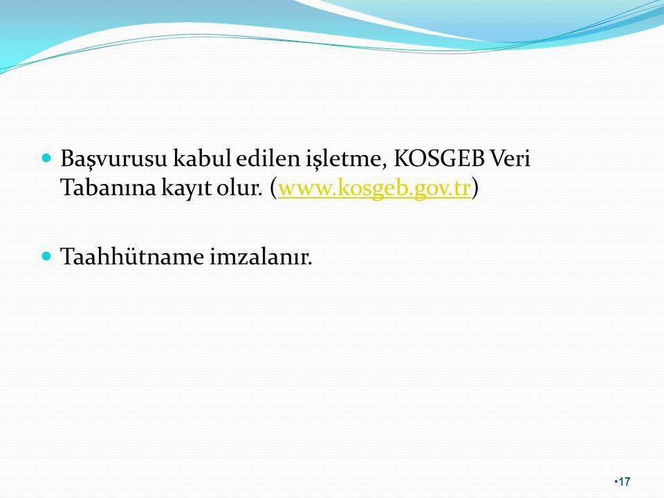 Başvurusu kabul edilen işletme, KOSGEB Veri Tabanına kayıt olur. (www.kosgeb.gov.tr)www.kosgeb.gov.tr Taahhütname imzalanır. 17
