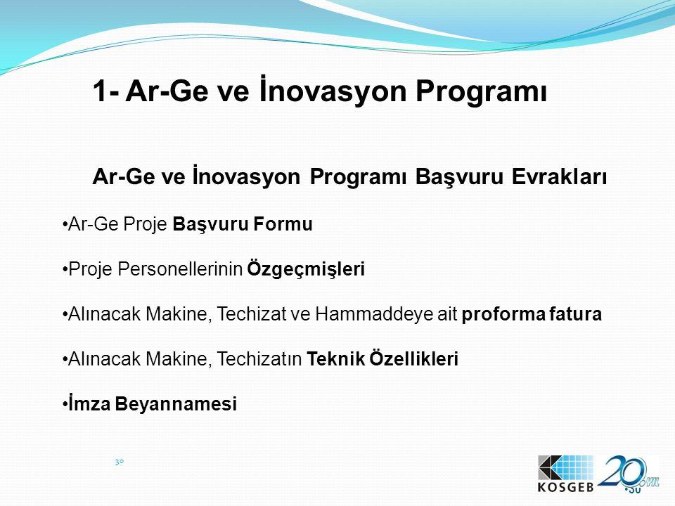 30 1- Ar-Ge ve İnovasyon Programı Ar-Ge ve İnovasyon Programı Başvuru Evrakları Ar-Ge Proje Başvuru Formu Proje Personellerinin Özgeçmişleri Alınacak