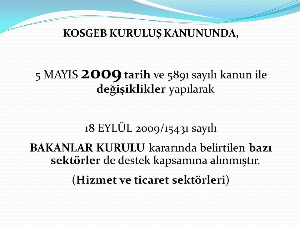 KOSGEB KURULUŞ KANUNUNDA, 5 MAYIS 2009 tarih ve 5891 sayılı kanun ile değişiklikler yapılarak 18 EYLÜL 2009/15431 sayılı BAKANLAR KURULU kararında bel