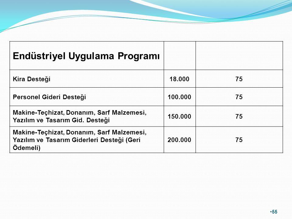55 Endüstriyel Uygulama Programı Kira Desteği18.00075 Personel Gideri Desteği100.00075 Makine-Teçhizat, Donanım, Sarf Malzemesi, Yazılım ve Tasarım Gi