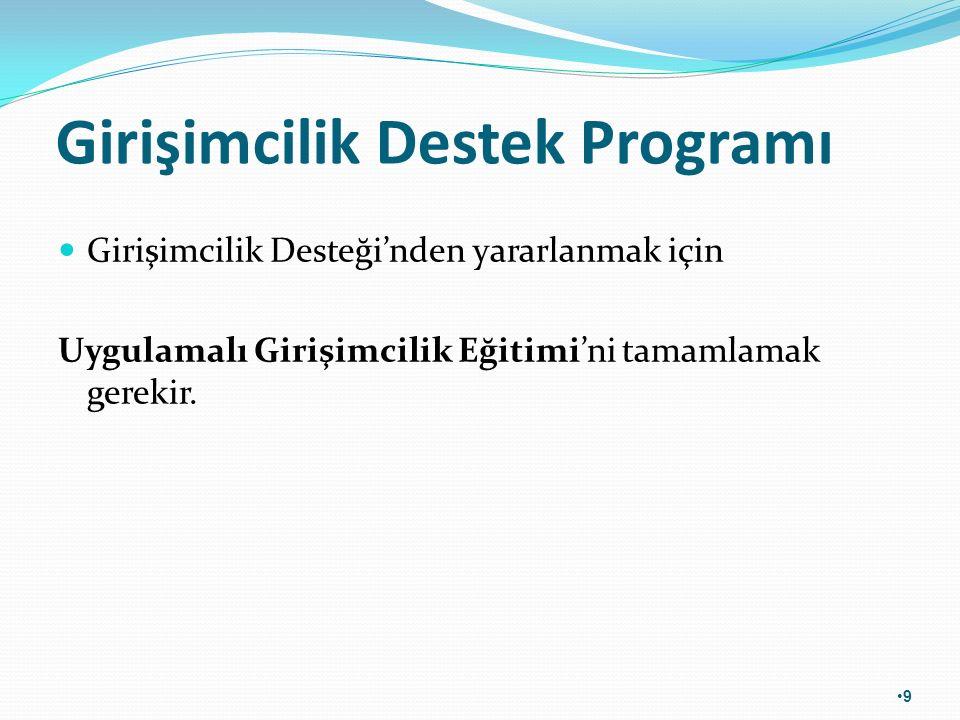 Girişimcilik Destek Programı Girişimcilik Desteği'nden yararlanmak için Uygulamalı Girişimcilik Eğitimi'ni tamamlamak gerekir. 9