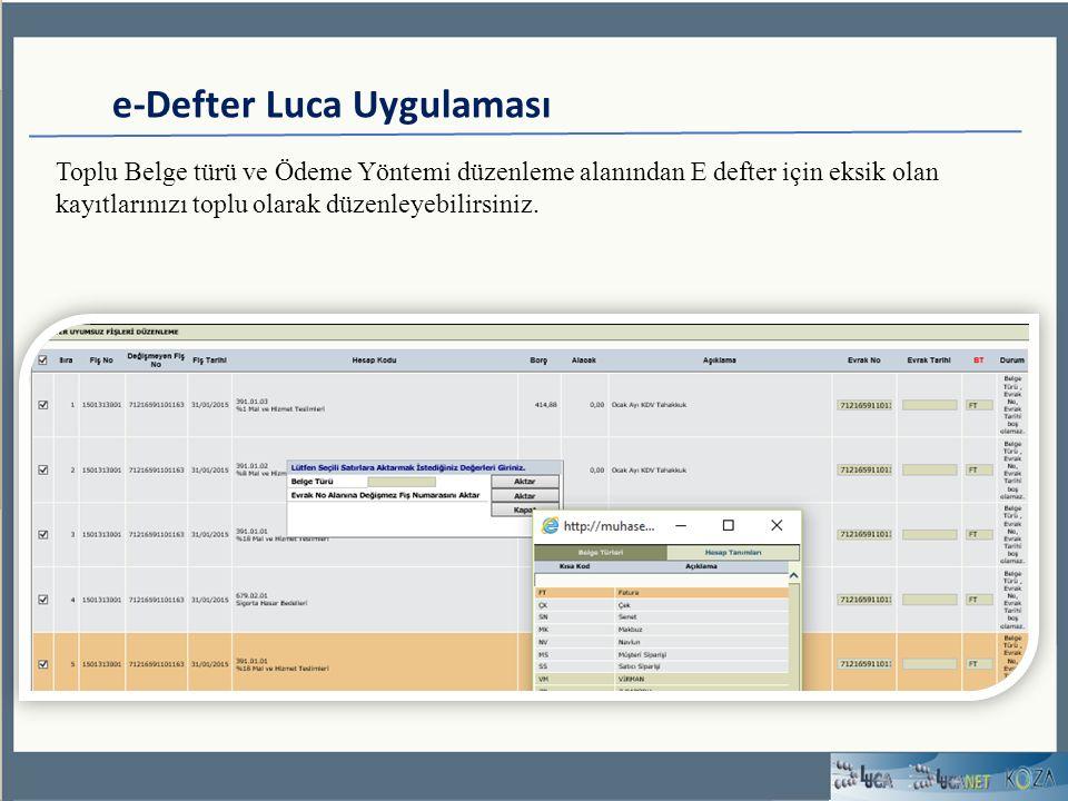 e-Defter Luca Uygulaması Toplu Belge türü ve Ödeme Yöntemi düzenleme alanından E defter için eksik olan kayıtlarınızı toplu olarak düzenleyebilirsiniz.