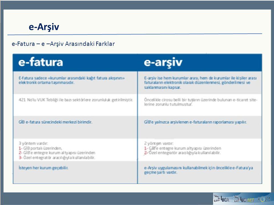 e-Arşiv e-Fatura – e –Arşiv Arasındaki Farklar