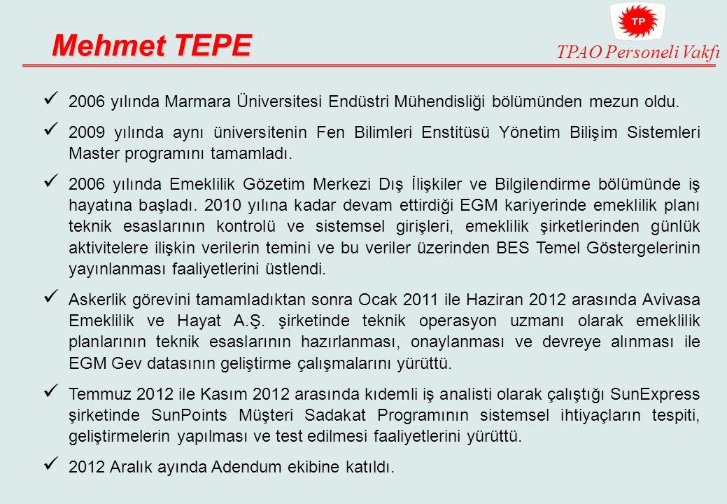 TPAO Personeli Vakfı Mehmet TEPE 2006 yılında Marmara Üniversitesi Endüstri Mühendisliği bölümünden mezun oldu.