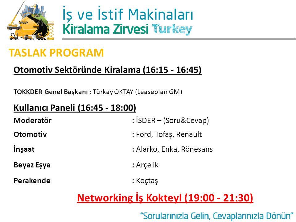 TASLAK PROGRAM Otomotiv Sektöründe Kiralama (16:15 - 16:45) TOKKDER Genel Başkanı : Türkay OKTAY (Leaseplan GM) Kullanıcı Paneli (16:45 - 18:00) Moder