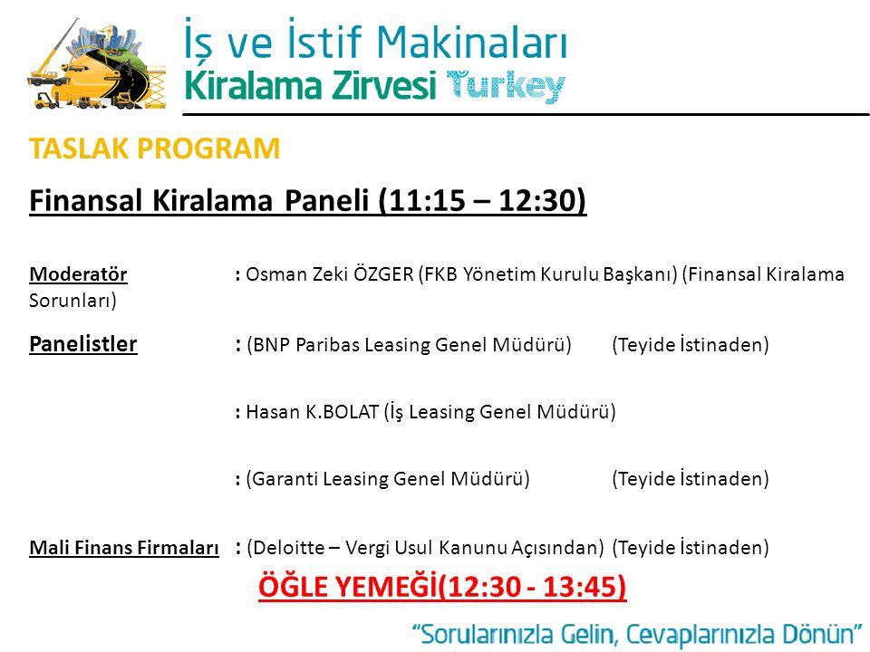 TASLAK PROGRAM Finansal Kiralama Paneli (11:15 – 12:30) Moderatör: Osman Zeki ÖZGER (FKB Yönetim Kurulu Başkanı) (Finansal Kiralama Sorunları) Panelis
