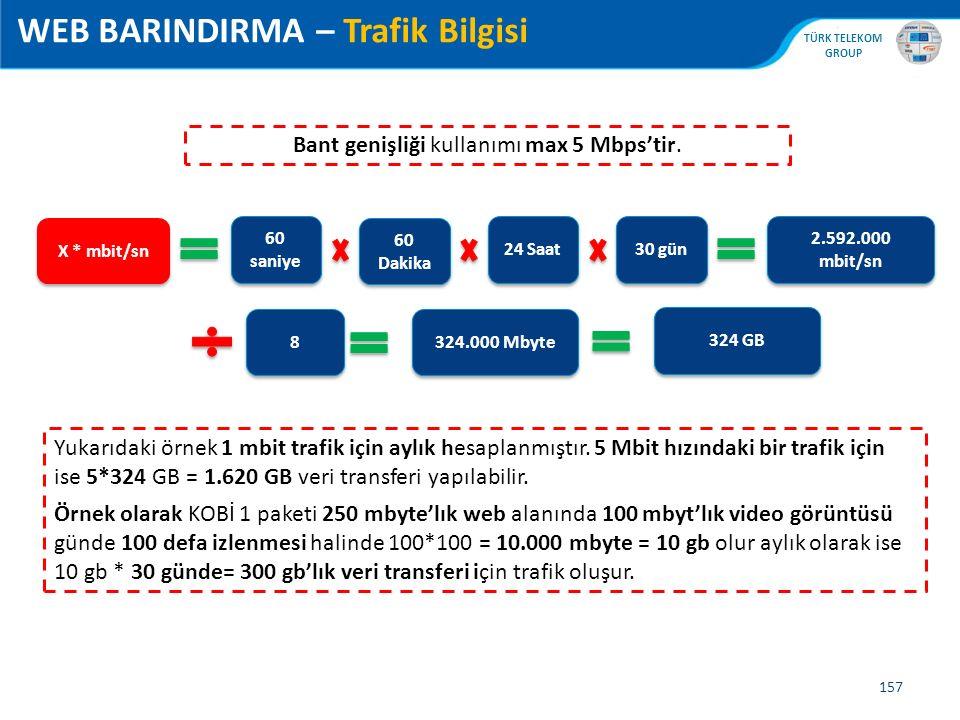 , TÜRK TELEKOM GROUP 157 WEB BARINDIRMA – Trafik Bilgisi Bant genişliği kullanımı max 5 Mbps'tir. X * mbit/sn 60 Dakika 24 Saat 30 gün 2.592.000 mbit/