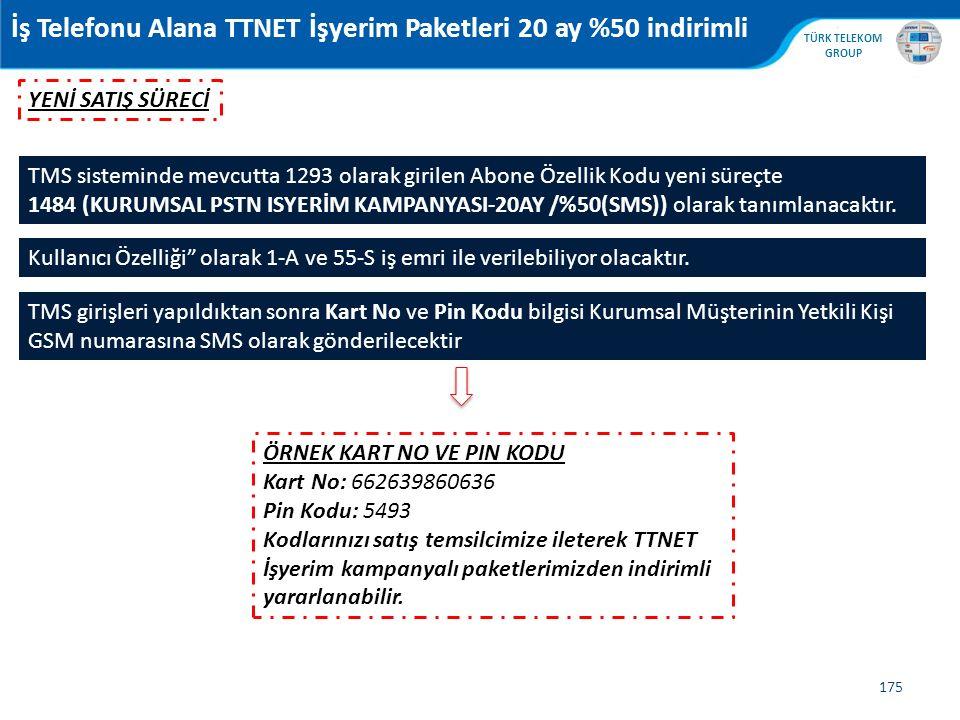 , TÜRK TELEKOM GROUP 175 TMS sisteminde mevcutta 1293 olarak girilen Abone Özellik Kodu yeni süreçte 1484 (KURUMSAL PSTN ISYERİM KAMPANYASI-20AY /%50(