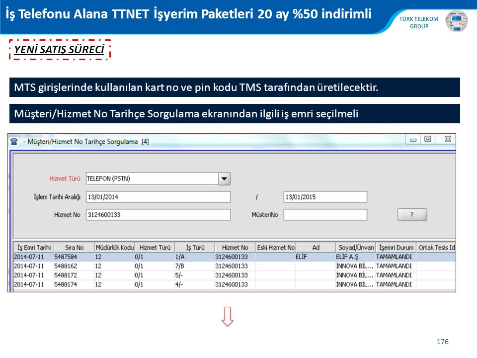 , TÜRK TELEKOM GROUP 176 MTS girişlerinde kullanılan kart no ve pin kodu TMS tarafından üretilecektir. İş Telefonu Alana TTNET İşyerim Paketleri 20 ay