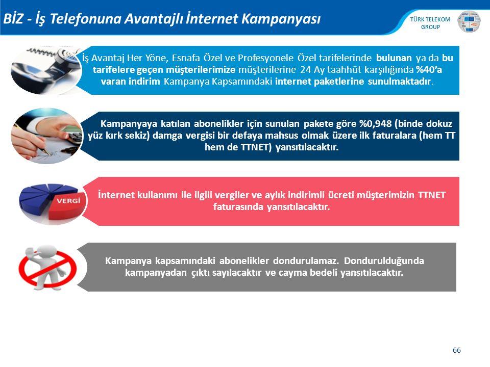 , TÜRK TELEKOM GROUP 66 BİZ - İş Telefonuna Avantajlı İnternet Kampanyası Kampanya kapsamındaki abonelikler dondurulamaz. Dondurulduğunda kampanyadan