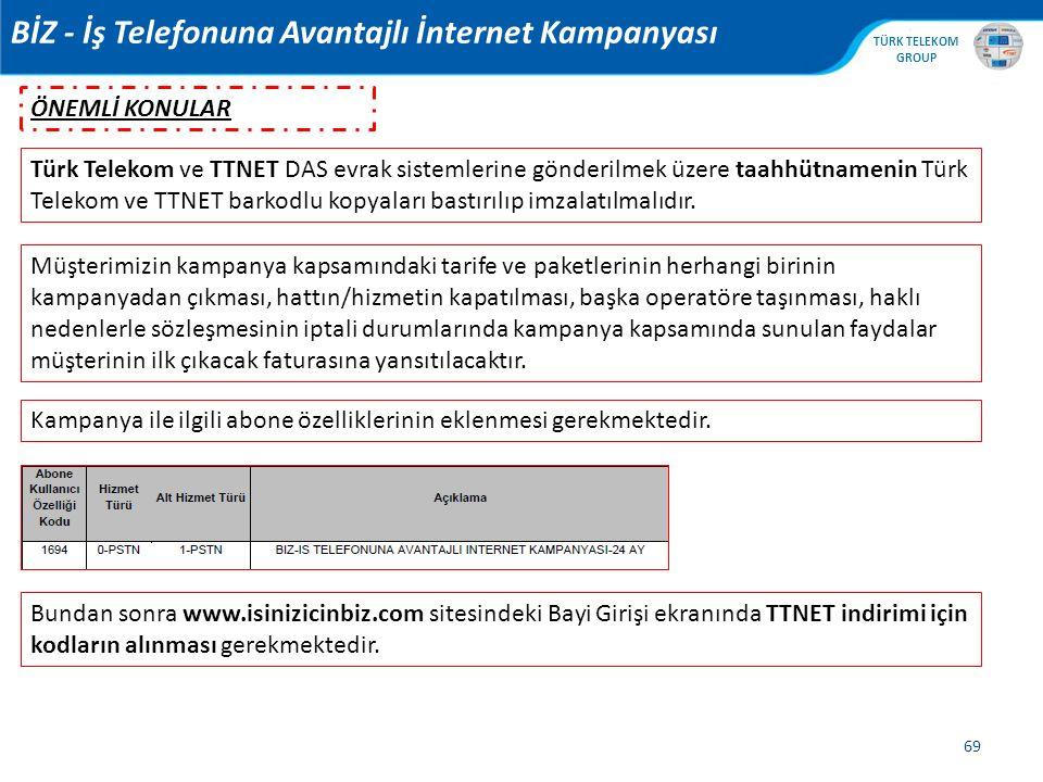 , TÜRK TELEKOM GROUP 69 BİZ - İş Telefonuna Avantajlı İnternet Kampanyası Türk Telekom ve TTNET DAS evrak sistemlerine gönderilmek üzere taahhütnameni