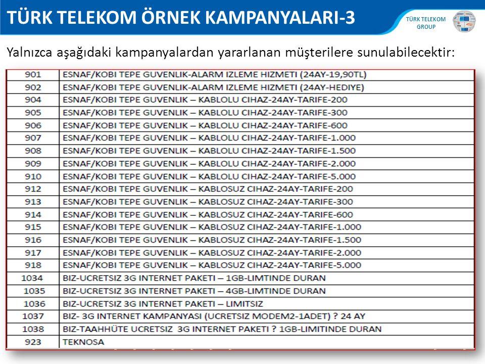 , TÜRK TELEKOM GROUP 76 TÜRK TELEKOM ÖRNEK KAMPANYALARI-3 Yalnızca aşağıdaki kampanyalardan yararlanan müşterilere sunulabilecektir: