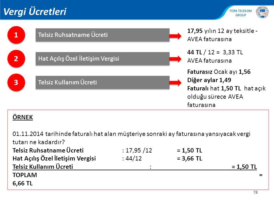 , TÜRK TELEKOM GROUP 78 1 1 Telsiz Ruhsatname Ücreti 2 2 Hat Açılış Özel İletişim Vergisi 3 3 Telsiz Kullanım Ücreti 17,95 yılın 12 ay teksitle - AVEA