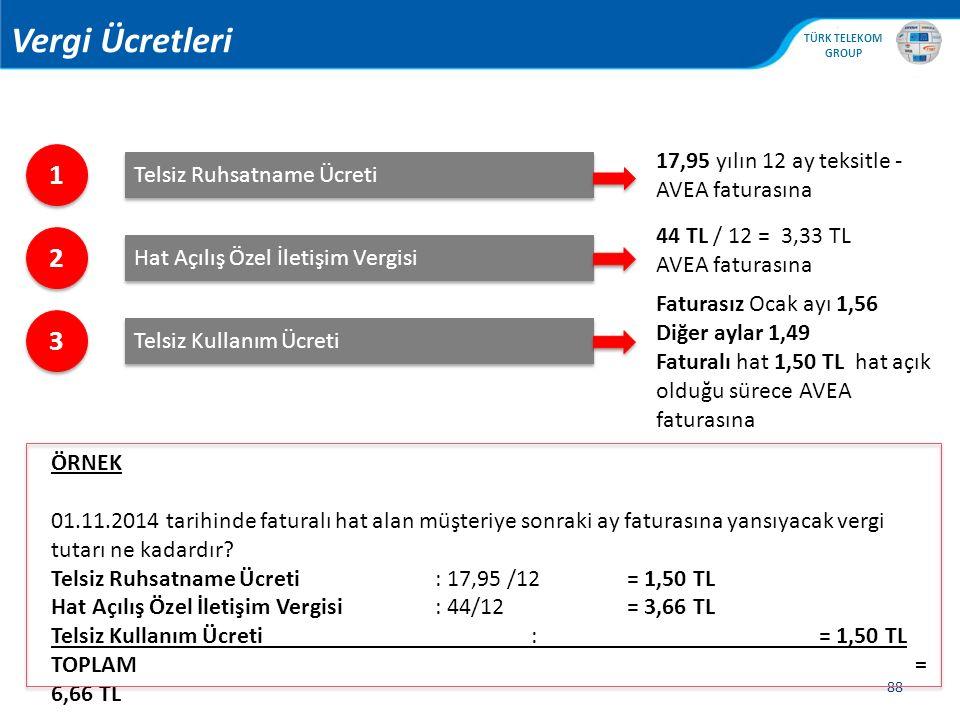 , TÜRK TELEKOM GROUP 88 1 1 Telsiz Ruhsatname Ücreti 2 2 Hat Açılış Özel İletişim Vergisi 3 3 Telsiz Kullanım Ücreti 17,95 yılın 12 ay teksitle - AVEA