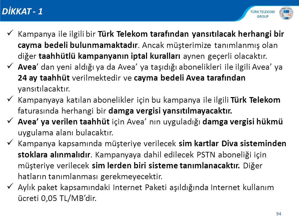 , TÜRK TELEKOM GROUP 94 DİKKAT - 1 Kampanya ile ilgili bir Türk Telekom tarafından yansıtılacak herhangi bir cayma bedeli bulunmamaktadır. Ancak müşte