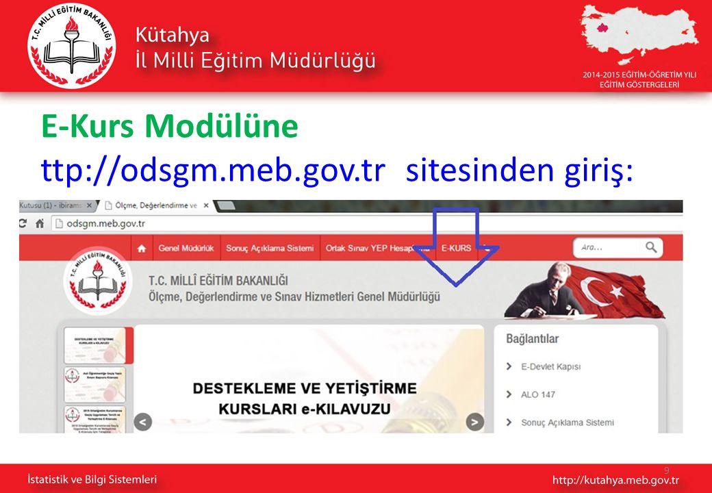 9 E-Kurs Modülüne ttp://odsgm.meb.gov.tr sitesinden giriş: