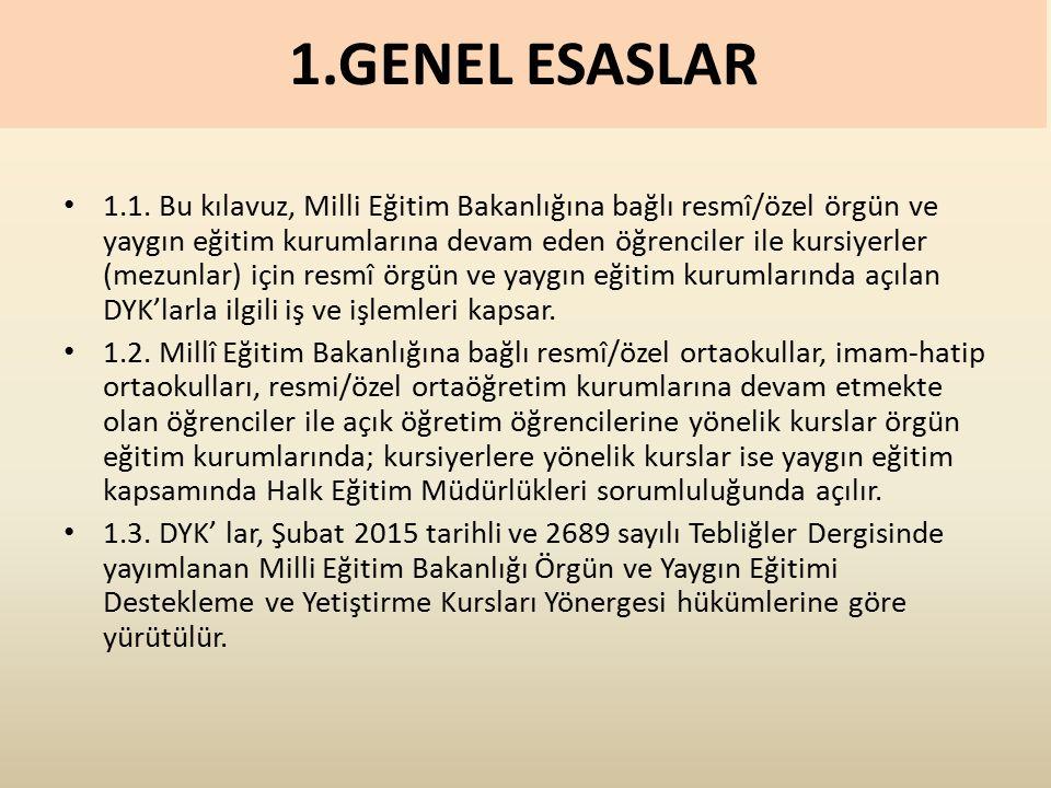 1.GENEL ESASLAR 1.1.