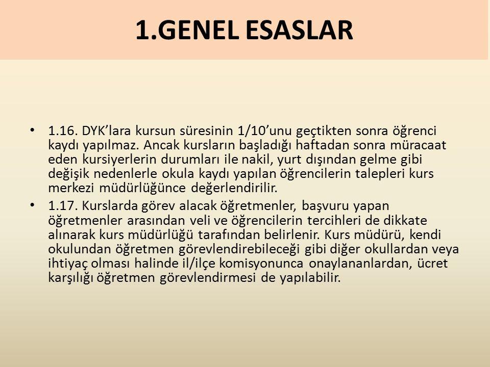 1.GENEL ESASLAR 1.16. DYK'lara kursun süresinin 1/10'unu geçtikten sonra öğrenci kaydı yapılmaz.