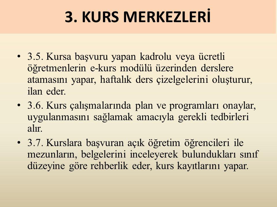 3. KURS MERKEZLERİ 3.5.