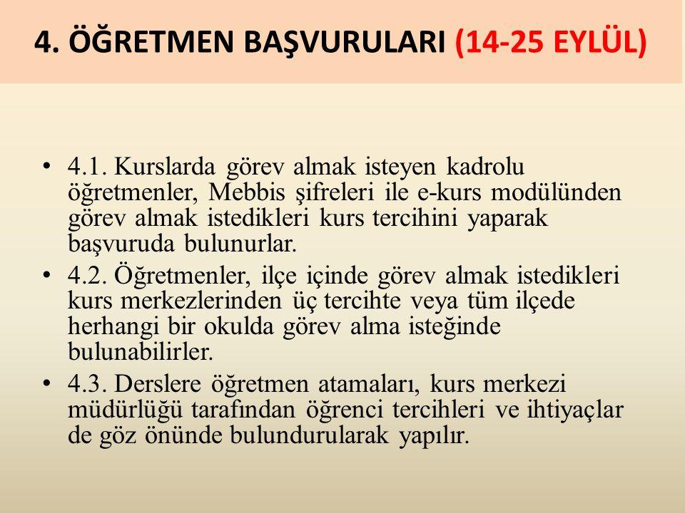 4. ÖĞRETMEN BAŞVURULARI (14-25 EYLÜL) 4.1.