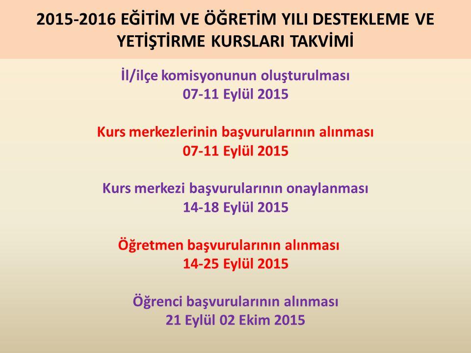 2015-2016 EĞİTİM VE ÖĞRETİM YILI DESTEKLEME VE YETİŞTİRME KURSLARI TAKVİMİ İl/ilçe komisyonunun oluşturulması 07-11 Eylül 2015 Kurs merkezlerinin başvurularının alınması 07-11 Eylül 2015 Kurs merkezi başvurularının onaylanması 14-18 Eylül 2015 Öğretmen başvurularının alınması 14-25 Eylül 2015 Öğrenci başvurularının alınması 21 Eylül 02 Ekim 2015