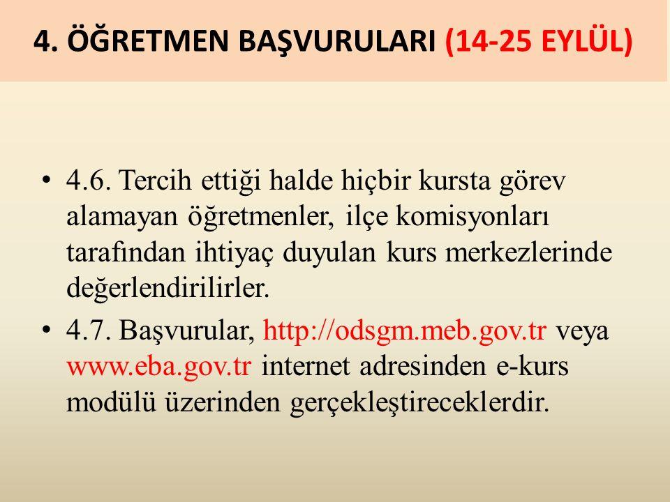 4. ÖĞRETMEN BAŞVURULARI (14-25 EYLÜL) 4.6.