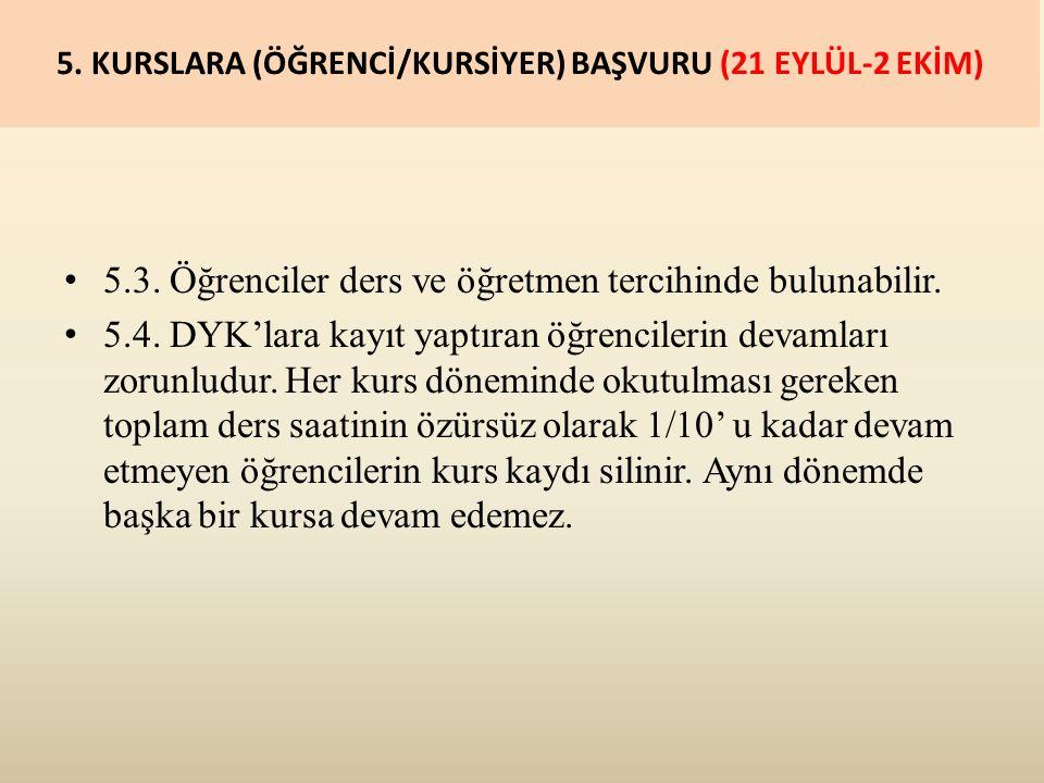 5. KURSLARA (ÖĞRENCİ/KURSİYER) BAŞVURU (21 EYLÜL-2 EKİM) 5.3.