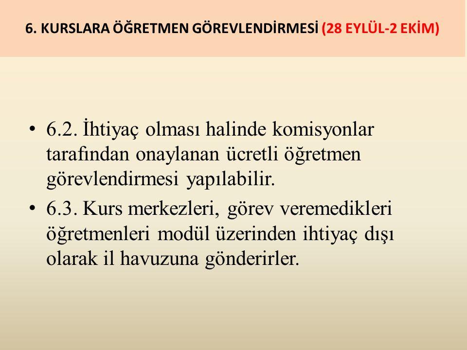 6. KURSLARA ÖĞRETMEN GÖREVLENDİRMESİ (28 EYLÜL-2 EKİM) 6.2.