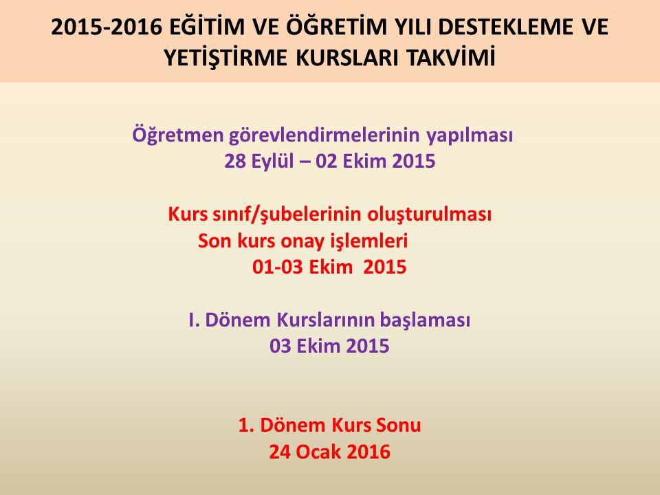2.Dönem Kurslarının Başlangıcı 08 Şubat 2016 II.
