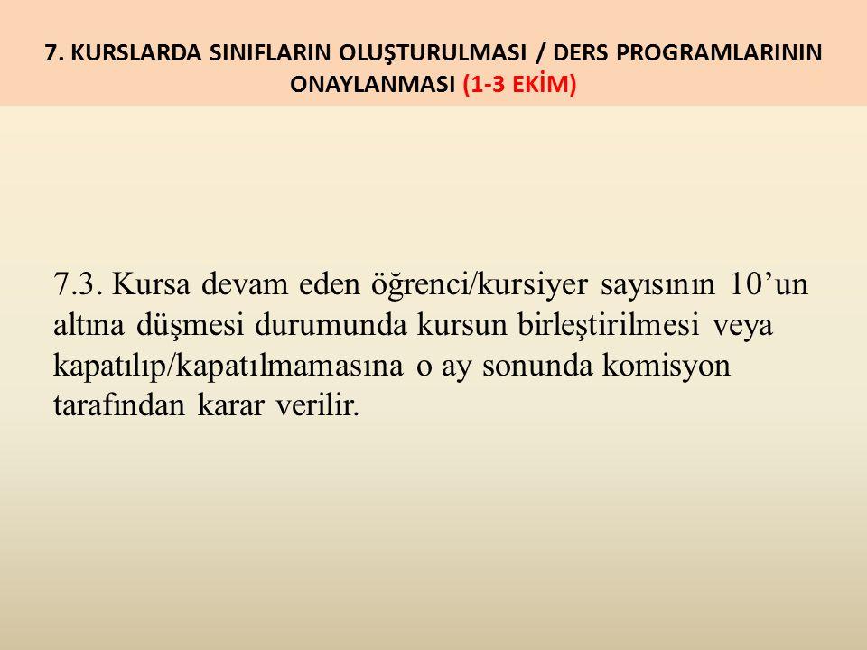 7. KURSLARDA SINIFLARIN OLUŞTURULMASI / DERS PROGRAMLARININ ONAYLANMASI (1-3 EKİM) 7.3.