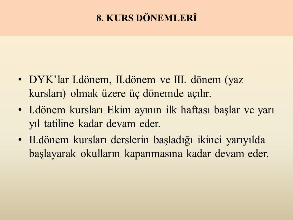8. KURS DÖNEMLERİ DYK'lar I.dönem, II.dönem ve III.