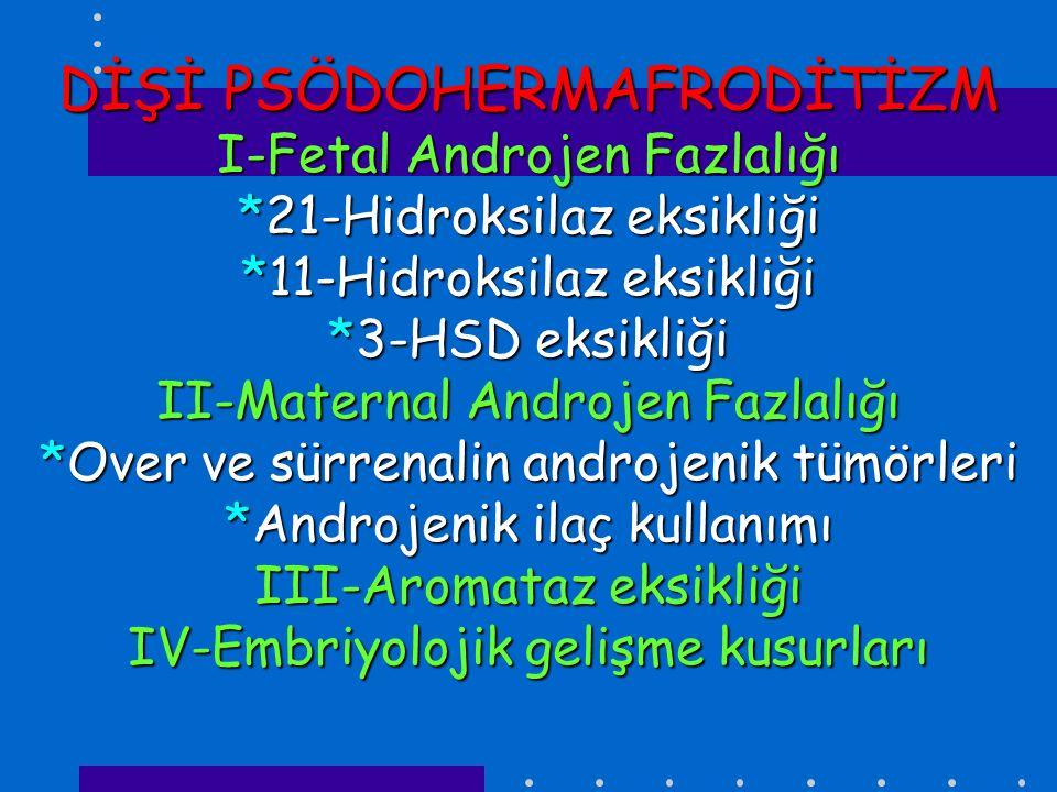 DİŞİ PSÖDOHERMAFRODİTİZM I-Fetal Androjen Fazlalığı *21-Hidroksilaz eksikliği *11-Hidroksilaz eksikliği *3-HSD eksikliği II-Maternal Androjen Fazlalığı *Over ve sürrenalin androjenik tümörleri *Androjenik ilaç kullanımı III-Aromataz eksikliği IV-Embriyolojik gelişme kusurları