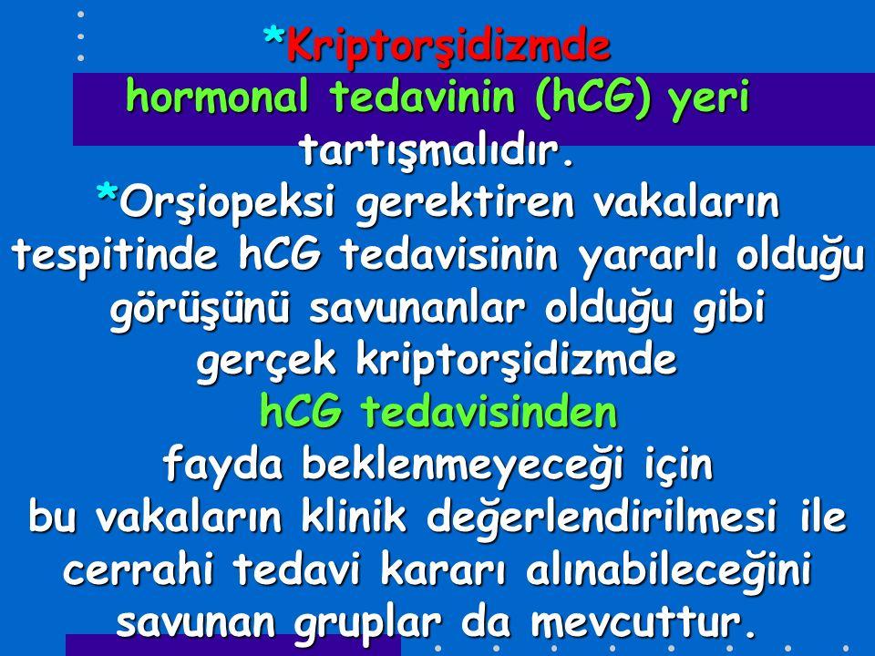 *Kriptorşidizmde hormonal tedavinin (hCG) yeri tartışmalıdır.