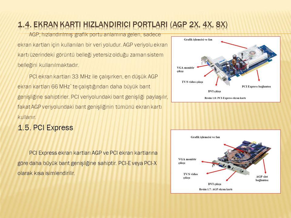 1.3.1. Veri yolu Standardına Göre  ISA  PCI  AGP  PCI Express  Ana kart üzerinde entegre olan (on board) ekran kartı  Ana kartın genişleme yuvas