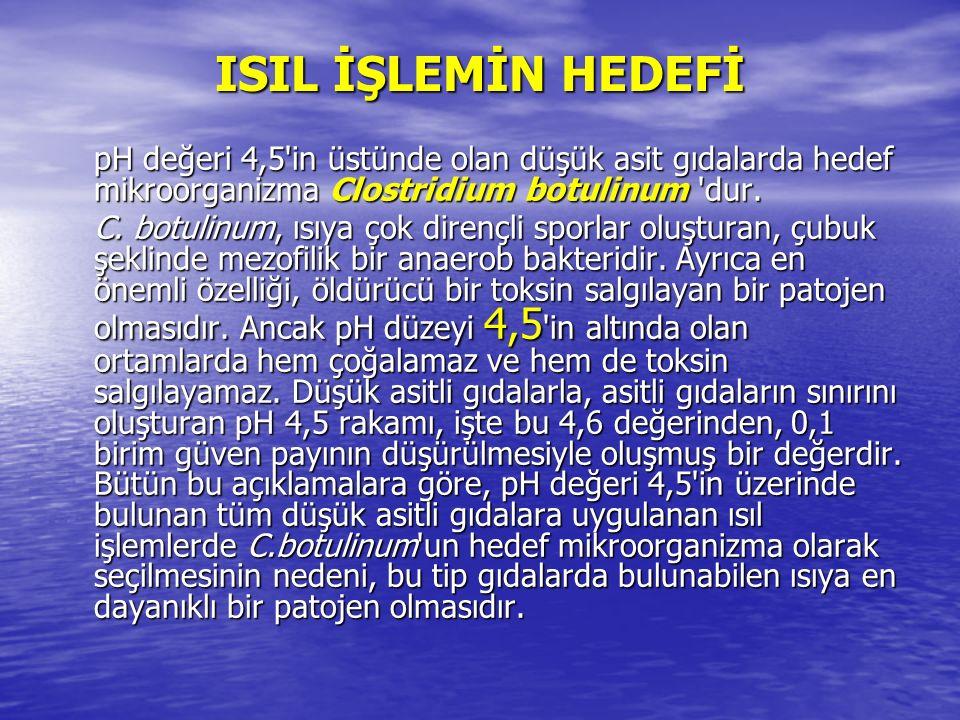 ISIL İŞLEMİN HEDEFİ pH değeri 4,5'in üstünde olan düşük asit gıdalarda hedef mikroorganizma Clostridium botulinum 'dur. C. botulinum, ısıya çok direnç
