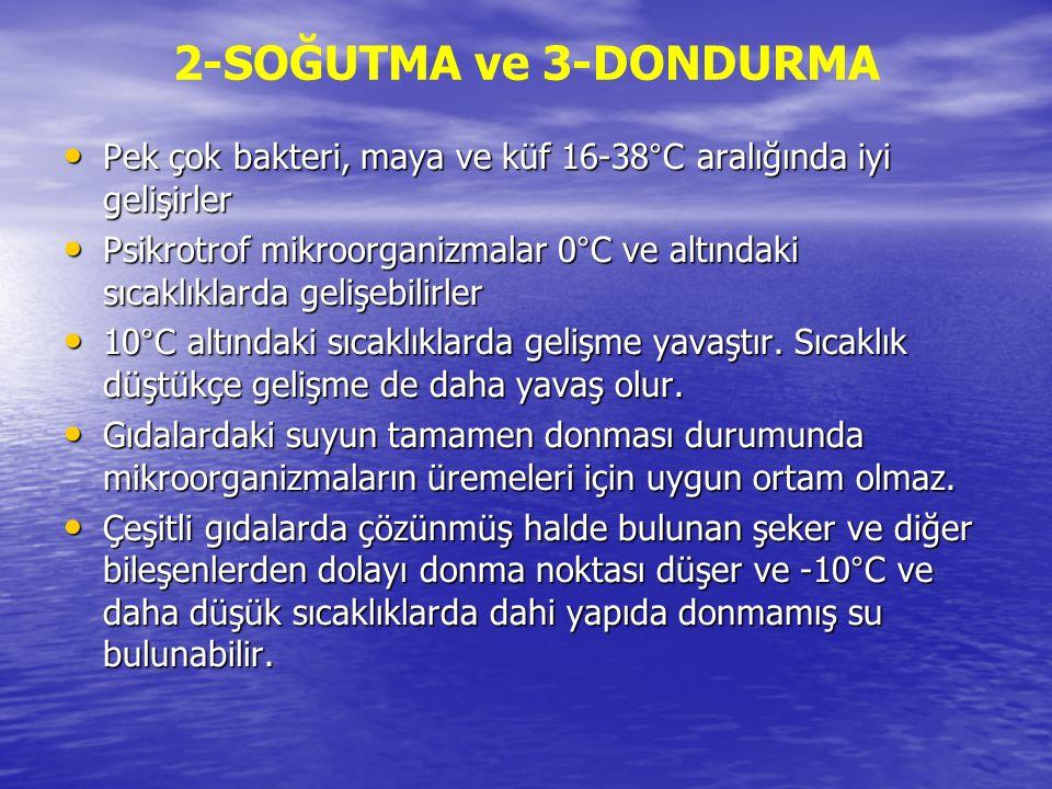 2-SOĞUTMA ve 3-DONDURMA Pek çok bakteri, maya ve küf 16-38°C aralığında iyi gelişirler Pek çok bakteri, maya ve küf 16-38°C aralığında iyi gelişirler