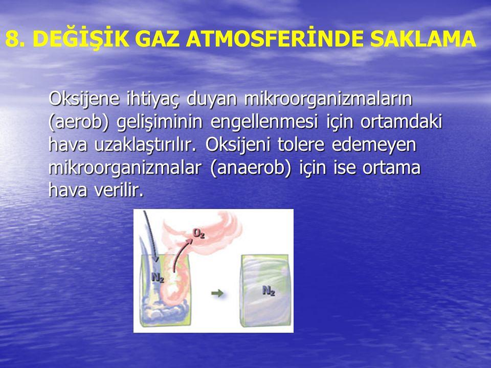8. DEĞİŞİK GAZ ATMOSFERİNDE SAKLAMA Oksijene ihtiyaç duyan mikroorganizmaların (aerob) gelişiminin engellenmesi için ortamdaki hava uzaklaştırılır. Ok
