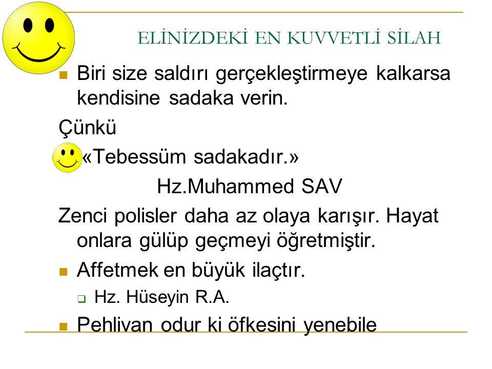 ELİNİZDEKİ EN KUVVETLİ SİLAH Biri size saldırı gerçekleştirmeye kalkarsa kendisine sadaka verin. Çünkü «Tebessüm sadakadır.» Hz.Muhammed SAV Zenci pol