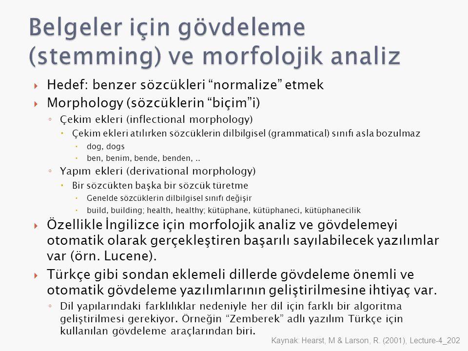""" Hedef: benzer sözcükleri """"normalize"""" etmek  Morphology (sözcüklerin """"biçim""""i) ◦ Çekim ekleri (inflectional morphology)  Çekim ekleri atılırken söz"""