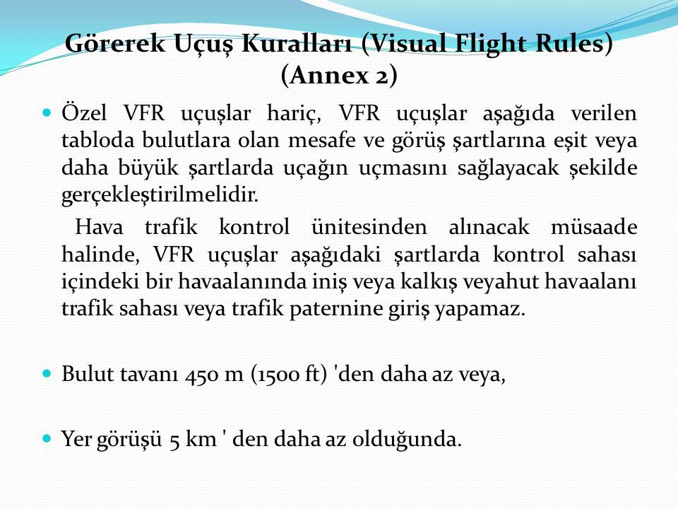 Görerek Uçuş Kuralları (Visual Flight Rules) (Annex 2) Özel VFR uçuşlar hariç, VFR uçuşlar aşağıda verilen tabloda bulutlara olan mesafe ve görüş şart