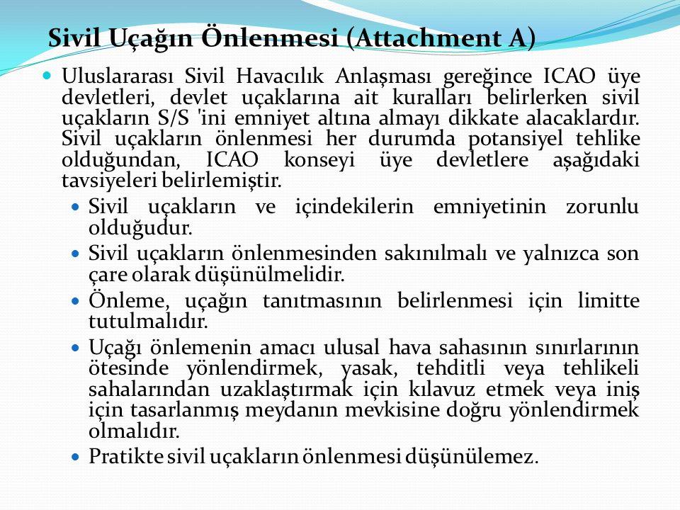 Sivil Uçağın Önlenmesi (Attachment A) Uluslararası Sivil Havacılık Anlaşması gereğince ICAO üye devletleri, devlet uçaklarına ait kuralları belirlerke