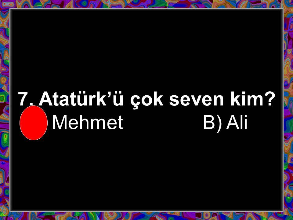 6. Mehmet Atatürk'ü neden seviyor A) Bizi düşmanlardan kurtardığı için B) Mehmet'e top aldığı için